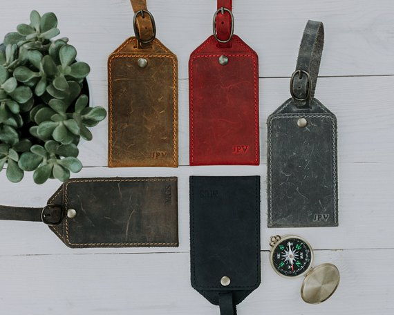 leather luggage tags bridesmaids gift ideas