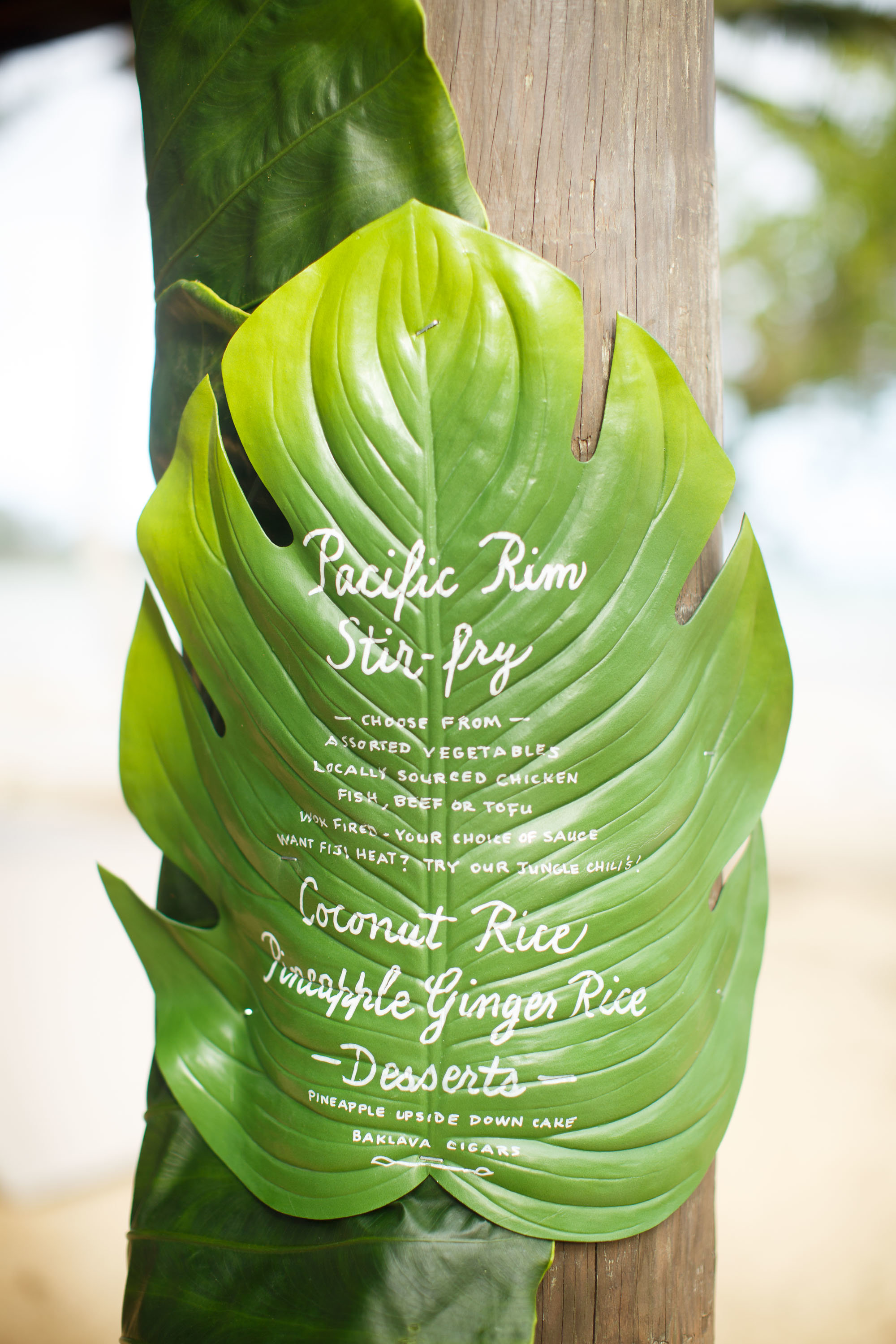 destination wedding menu inspiration