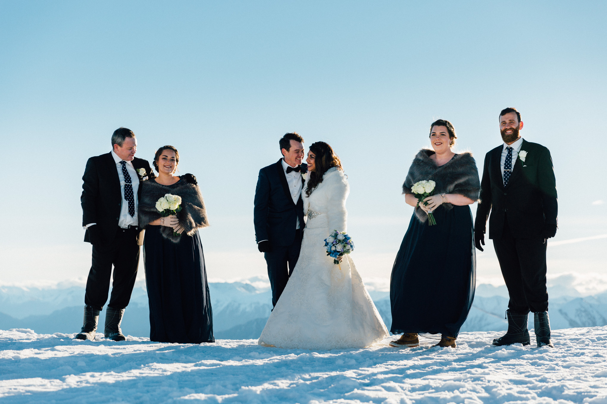 bridal party Queenstown snow wedding