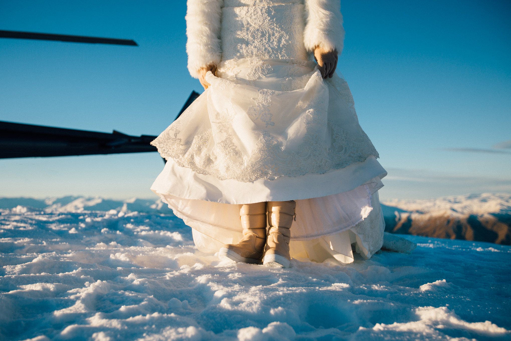 bride in the snow ugg boots